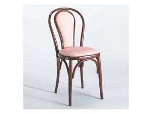 129 C, Chaise en bois cintré, rembourrés, pour pizzerias