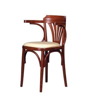 130, Chaise avec accoudoirs en hêtre courbé, assise rembourrée