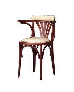 133, Chaise rembourrée en bois incurvé pour bar et bistro