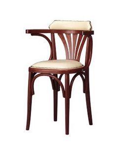 134, Chaise avec accoudoirs en bois courbé, style rustique