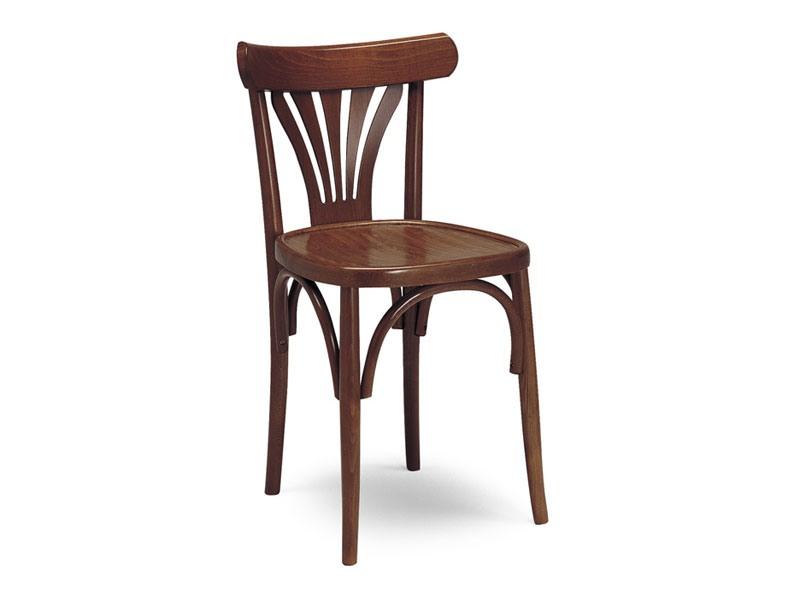 136, Chaise en bois, dossier avec décorations verticales