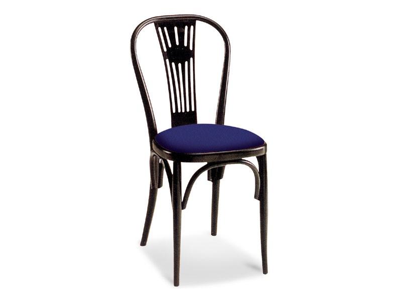 15, Chaise rembourrée, avec dossier en bois décorée