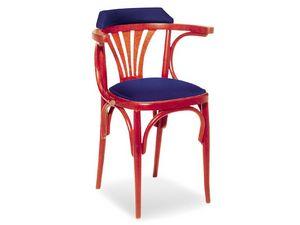 610/B, Chaise en bois décorée avec accoudoirs, style ancien