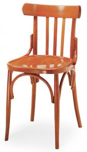 B07, Chaise en bois courbé, dossier avec design vertical, idéal pour les bars et pubs