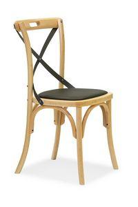 Ciao Antra M, Chaise en bois courbé courbé, siège rembourré