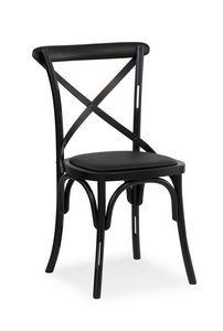 Ciao H, Chaise en bois massif, assise recouverte de tissu
