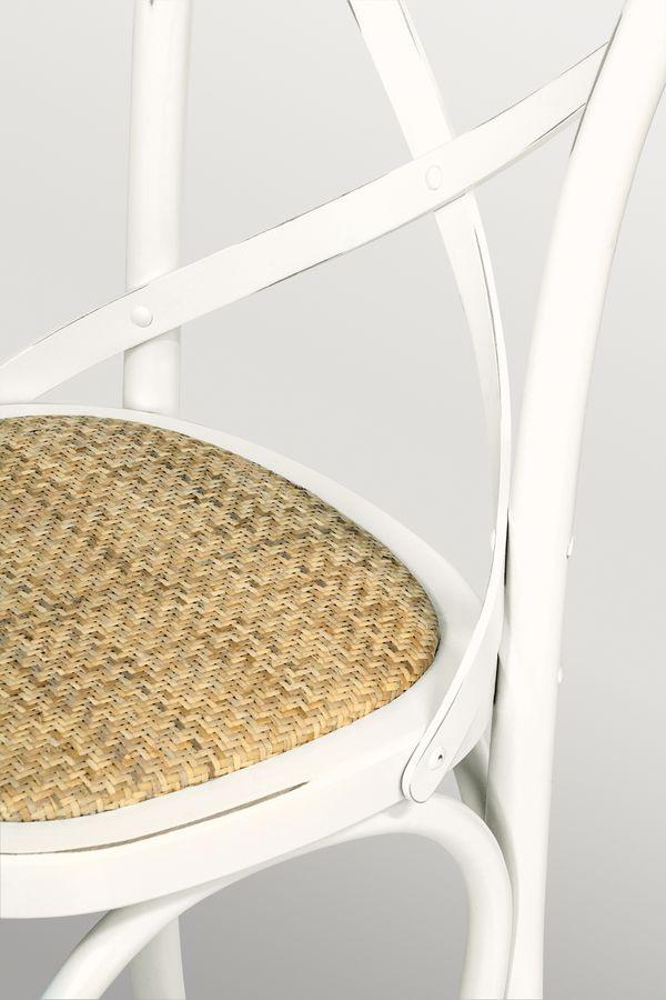Ciao Imb Antique white, Chaise en bois courbé, siège de paille tressée