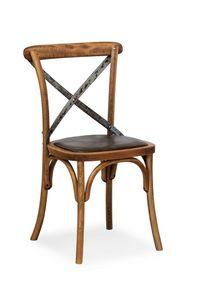 Ciao Iron, Chaise en h�tre massif, assise en simili cuir