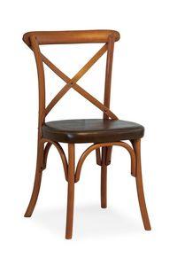 Ciao TI, Chaise en hêtre, siège recouvert de faux cuir