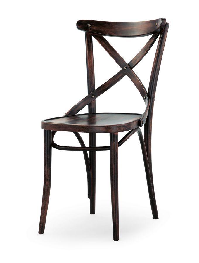 Croce, Chaises en bois sans accoudoirs, pour un restaurant et un bar