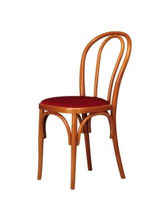 V01, Chaise en bois courbé, assise rembourrée, style viennois