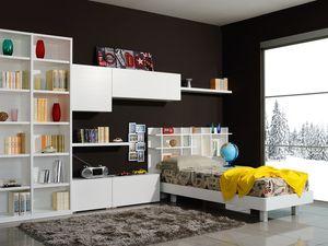 Climb Garçons 06, Chambre modulaire pour les enfants, avec un lit et armoires murales
