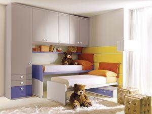 Comp. 208, Lit pour enfant avec des panneaux muraux équipée, colorée