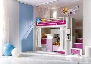 Comp. 306, Chambre à coucher, lattes de bois, des couleurs différentes