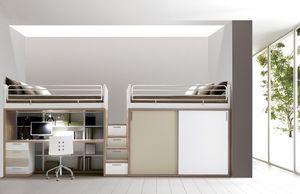 Comp. 309, Mobilier de chambre, lit, bureau, armoires, étagères