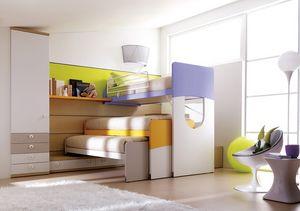 Comp. 405, Chambre compacte et robuste pour les enfants avec lits superposés