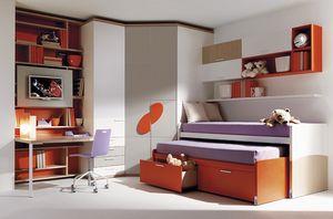 Comp. 955, Juniors lit, armoire, bureau, unités murales