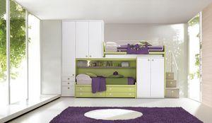 Comp. 968, Salle modulable pour les enfants, lits superposés avec placards