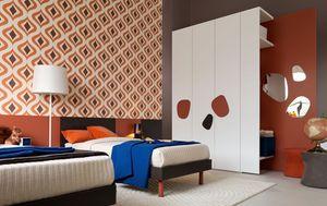 Comp. New 140, Meubles de chambre à coucher complète pour les enfants, avec lit double, armoire et bureau