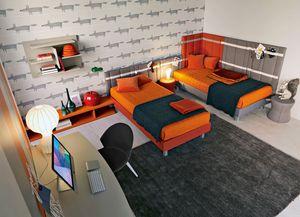Comp. New 144, Kid chambre avec deux lits matelassés, des bureaux et bibliothèque murale