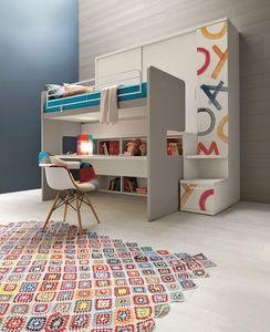 Comp. New 154, Armoire avec lit superposé intégrée, avec bureau, décoré dans l'impression numérique