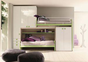 Comp. New 158, Chambre encombrant, avec mezzanine linéaire, avec deux lits et une armoire double