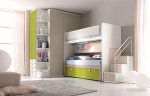 Comp. New 159, Chambre avec lit superposé, escalier avec des tiroirs, garde-robe
