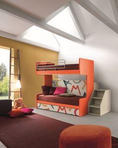 Comp. New 161, Lit superposé avec trois lits, mécanisme de pliage, idéal pour les petites chambres