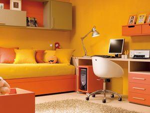 Compact 7003, Chambre d'enfant avec lit, bureau et unités murales