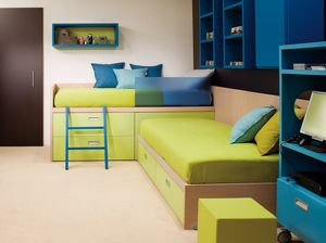 Compact 7006, Chambre d'enfant avec lits d'angle, équipée de tiroirs