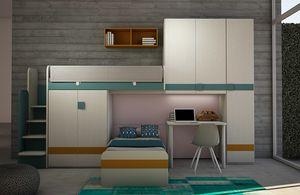 Cool comp.18, Chambre enfant avec lit mezzanine et armoire pont