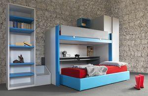 Cool comp.20, Mobilier de chambre d'enfant avec lit superposé coulissant et bureau