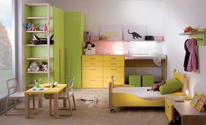 Kids 7004, Chambre d'enfant avec lit à roulettes