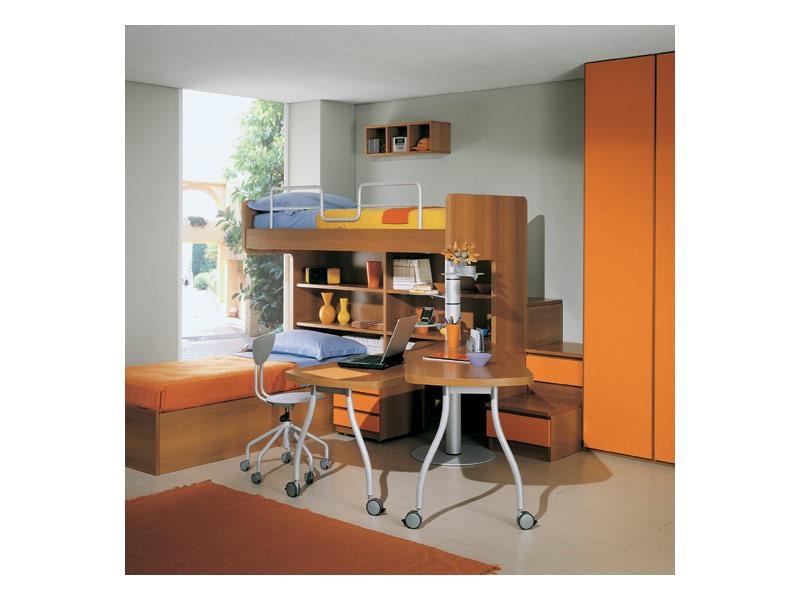 Kids Bedroom 1, Chambre avec lits superposés, étagères et tiroirs, garde-robe