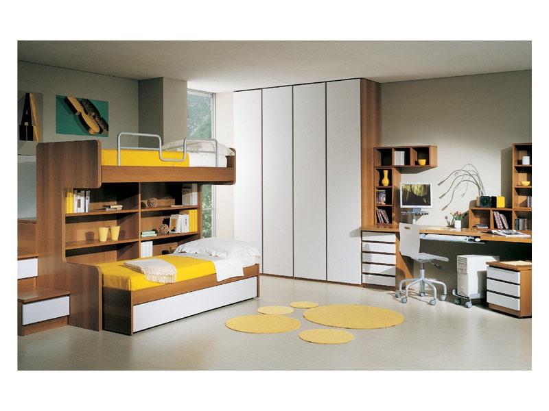 Kids Bedroom 2, Meubles pour la chambre des enfants, avec des lits superposés, bureau et armoire