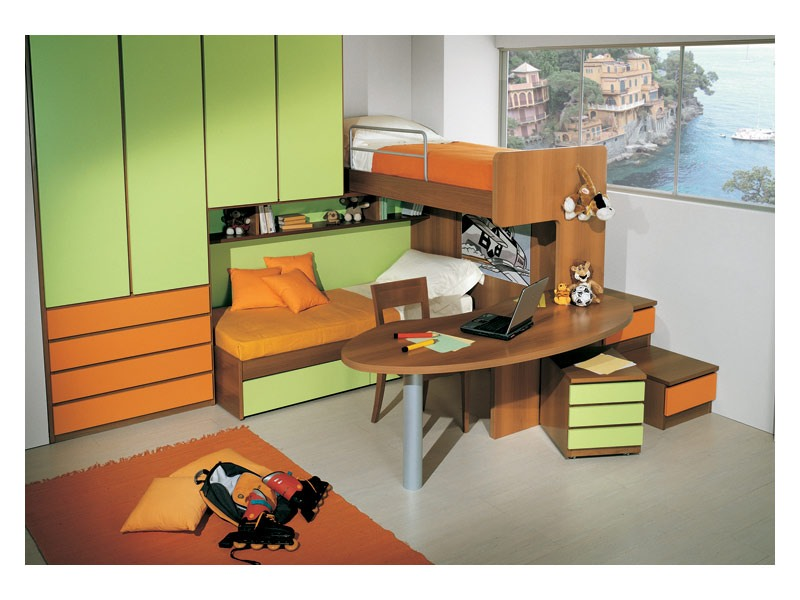 Kids Bedroom 3, Kid chambre avec lit double, un bureau inclus dans la structure superposé, finition vert et orange