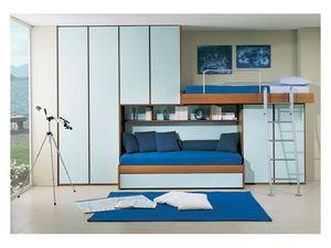 Kids Bedroom 4, Chambre avec lit deuxième extractible, pont garde-robe, de couleur bleu clair