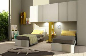 Natural comp.09, Chambre enfant avec penderie, pour deux lits