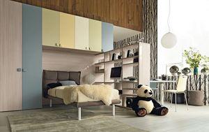 Comp. New 141, Gain d'espace kid chambre, avec pont intégré armoire, lit rembourré et un bureau bibliothèque
