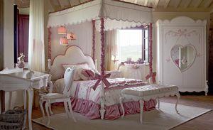Nuvola, Chambre pour petites filles avec lit à baldaquin