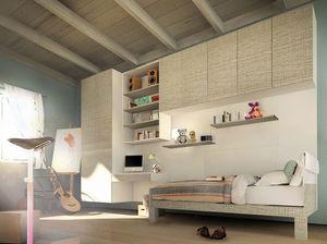 Peter Pan, Chambre Kid avec des armoires et un bureau pendus, design moderne