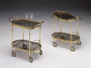 BOHEME 115 , Chariot pour hôtels, cadre en laiton poli, plateaux en verre