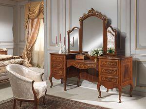 Art. 940 toilette, Coiffeuse avec l'unité de stockage, de noix, de style classique de luxe