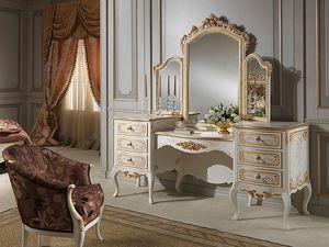 Art. 941 dressing table, Toilettes avec miroir, style classique, finition bois ivoire