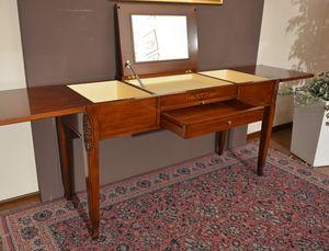 Beauty table, Coiffeuse en bois massif, avec compartiment de rangement