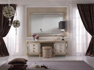 Liberty coiffeuse, Coiffeuse agrémenté de pratique tablette coulissante avec miroir décoratif, style classique et décoré à la main