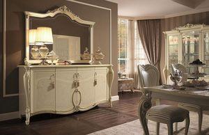 Tiziano buffet, Armoire 4 portes, finitions de feuille d'or, de rester dans un style classique