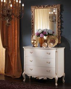 3515 COMO', Poitrine blanche tiroirs adapté pour les chambres classiques