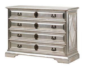 Angelico RA.0754, Ebonized poitrine de bois de tiroirs, avec 4 tiroirs, de couleur argent, pour les environnements de style de luxe classique