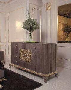 Art . 114, Poitrine avec 4 tiroirs avec des finitions en or, luxe classique